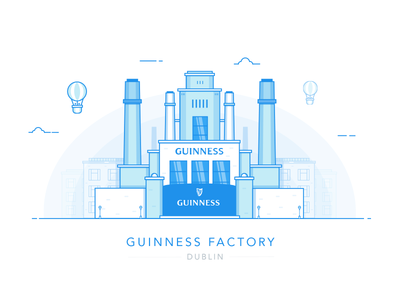 Guinness Factory factory guinness illustration blue cityscape landmark custom house city eire ireland dublin