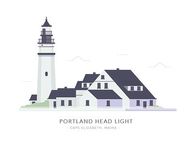 Portland Head Light, Cape Elizabeth, Maine architecture sea landscape illustration home house light building lighthouse