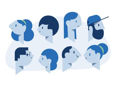 The Heads beard hat face flat lines cube style woman man head