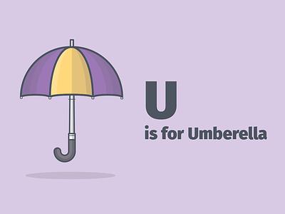 U is for Umberella weather rain umberella donut robot kite carrot kid kids a to z alphabet