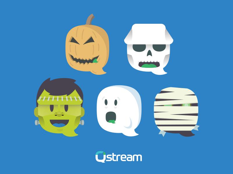 Halloween Logo ghost mummy frankenstien pumpkin halloween logo