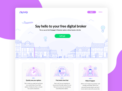 Landing Page - Lineart mortgage building city cityscape lineart illustration iconography insurance concept overlay landing page