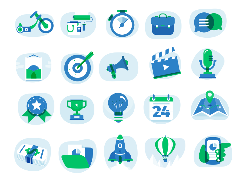 Icons set plane profile wallet money chat blue icon set illustration icon