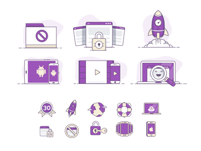 Icon Range - Large / Small folder lock help mobile ipad rocket purple icon
