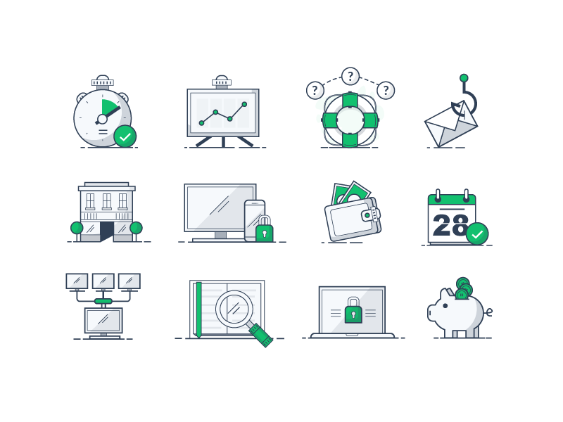 An icon set for a thing monitor money graph data clock timer green set icons icon