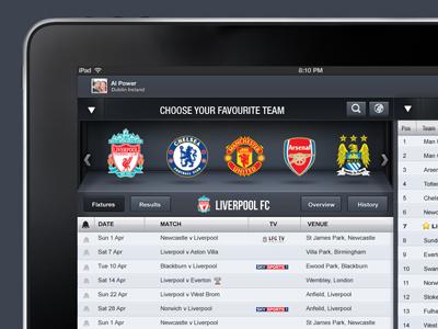 Football iPad App football app ipad music player player ui interface user interface application