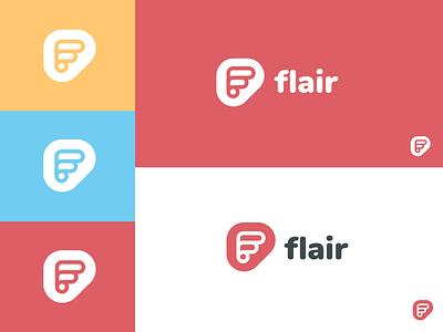 Flair Branding colour system typography symbol logo branding flair