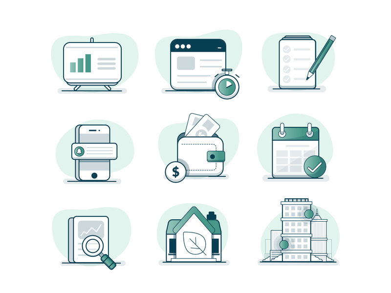 Iconography Set icon animation mobile house building illustration graph data wallet set iconography icon icons