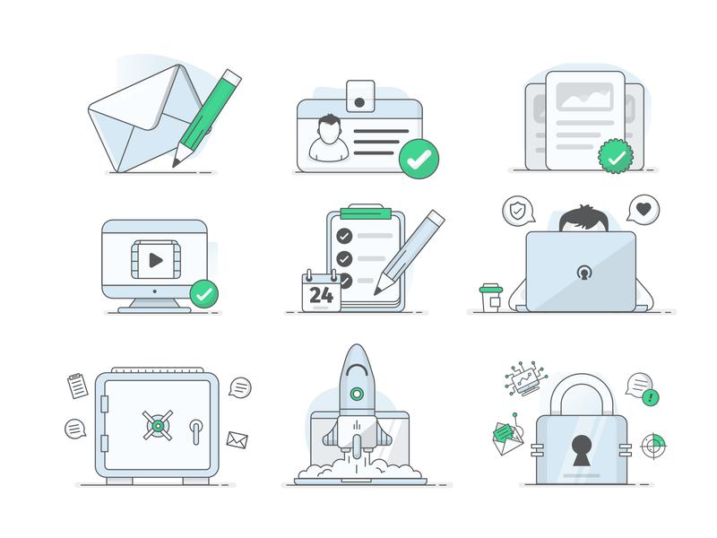 Illustration Set illus safe security lock rocket laptop mail illustrator illustrations