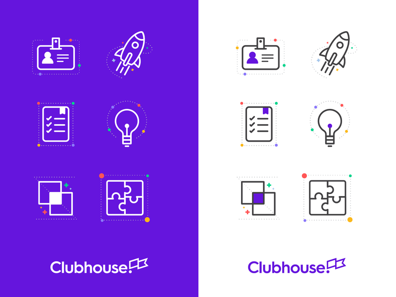 I'm joining Clubhouse! bulb profile rocket set iconography brand project management design ueno icons clubhouse