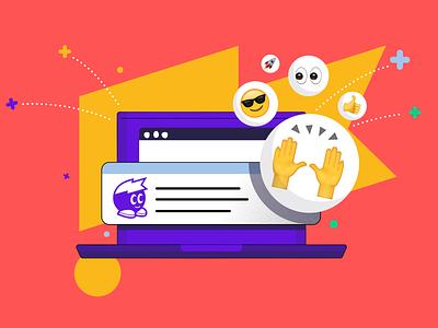 Emoji Reactions! smiley laptop banner header blog emojis