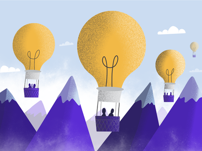 Hacking Happiness clubhouse illustration blog hacker balloon hot air balloon blub hacking