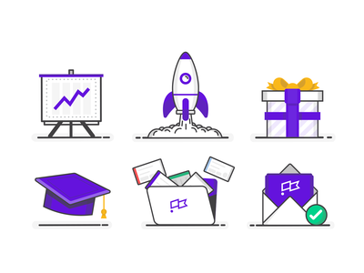 Icon Set iconography clubhouse project project management letter mail envelope hat education folder reporting report present gift rocket icon icons