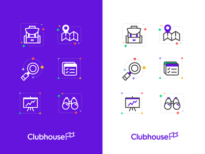 Clubhouse Icons icon design reports search map icon iconography branding illustration icons