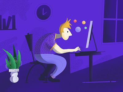 Workin' clubhouse brand branding illustration designing designer computer laptop dark working work man