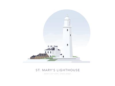 St. Marys Lighthouse, Whitley Bay, England house illustration building house lighthouse