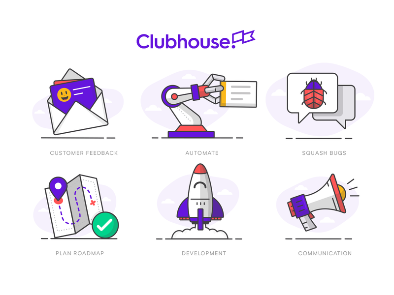 Some more illustrations pt2... product management project management clubhouse megaphone speaker communictation development rocket chat bug automate claw robot roadmap map customer feedback envelope illustration