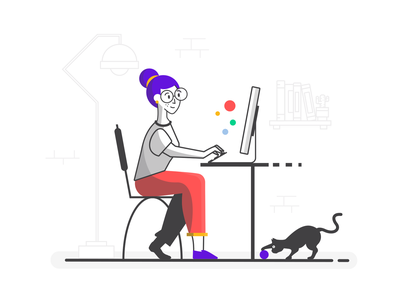 The Coder woman lady girl icon house illustration computer working human balls cat coding coder