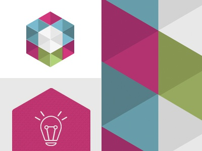 Branding Elements logo icon vibrant cube transparancy branding lightbulb
