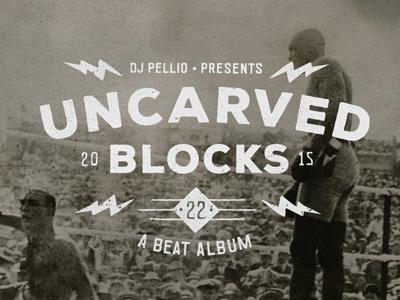 Uncarved Blocks logo mark branding hand drawn brand lettering logo type lightning icon album boxing boxer