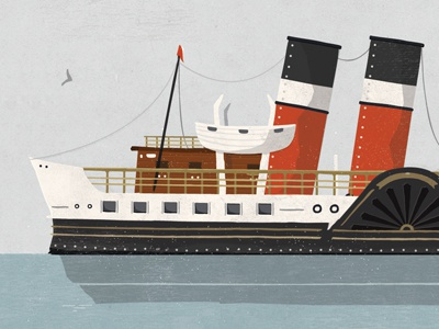 Waverley Ferry Illustration illustration texture boat nautical ocean paddle steamer sea vector wood