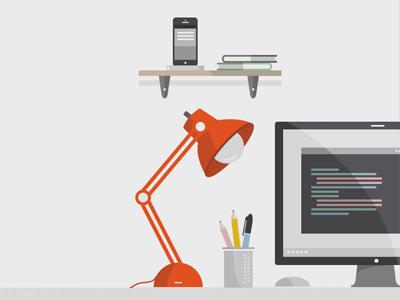 Desk Illustration illustration vector desk monitor code editor books mobile shelf lamp
