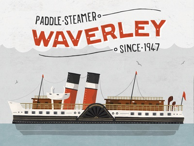 Waverley Ferry Illustration illustration boat nautical ocean wood texture paddle steamer seas cloud vector