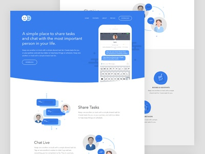 Landing page. sharing chat icons illustration mobile app ux ui landing page