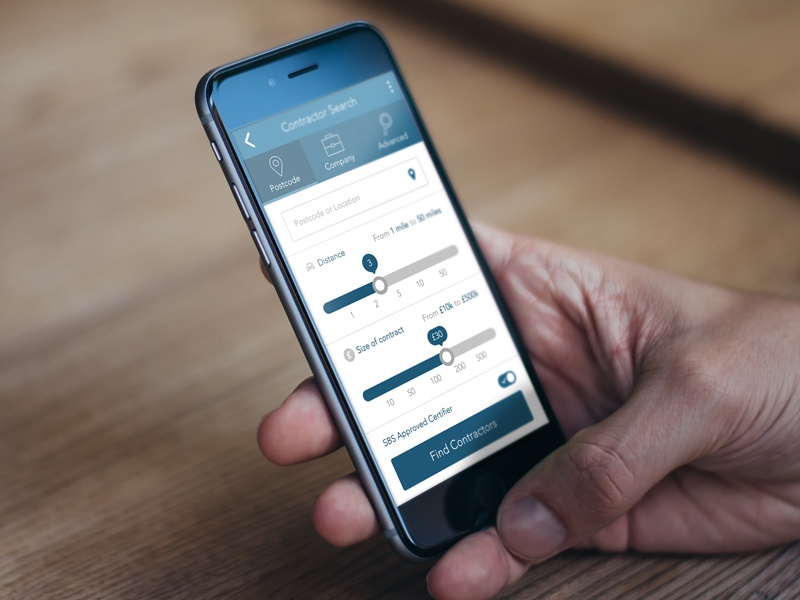 Contractor Search form search switch slider mobile app design ux ui