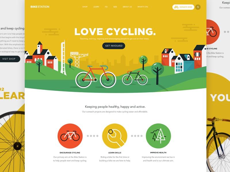 Bikestation Landing Page glasgow houses bike landing page icons animation svg illustration web ui