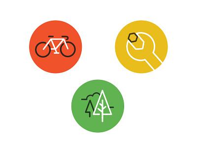 Bikestation Icons glasgow nature trees repairs bike icons animation svg illustration web ui