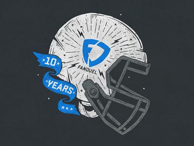 FanDuel 10 Years fanduel fantasy fantasy sports football illustration vector design
