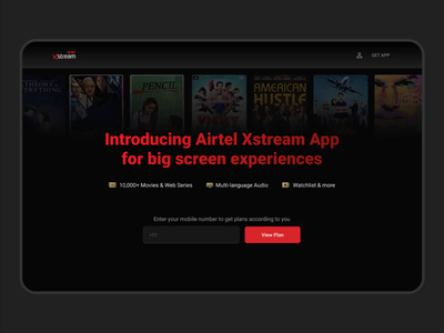 Airtel Xstream (TV App) landing page android tv movie content netflix case study inspiration interface airtel animated interaction design interaction branding typography mobile web landing page app ux design ui