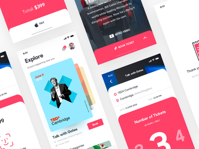 Ticket booking app iphonex uiux swipe mobile app ios interaction events design cards ticket event