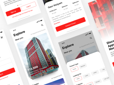 Apartments Rental App mockup estate real property house buy apartment sell rent feed cards
