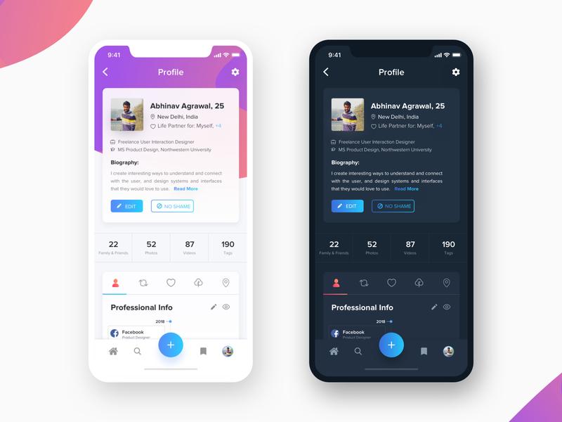 WIP: My Profile Design timeline menu dating app profile card card proffesional product theme design apple design app design app mobile concept my profile interaction animation ios profile dark theme