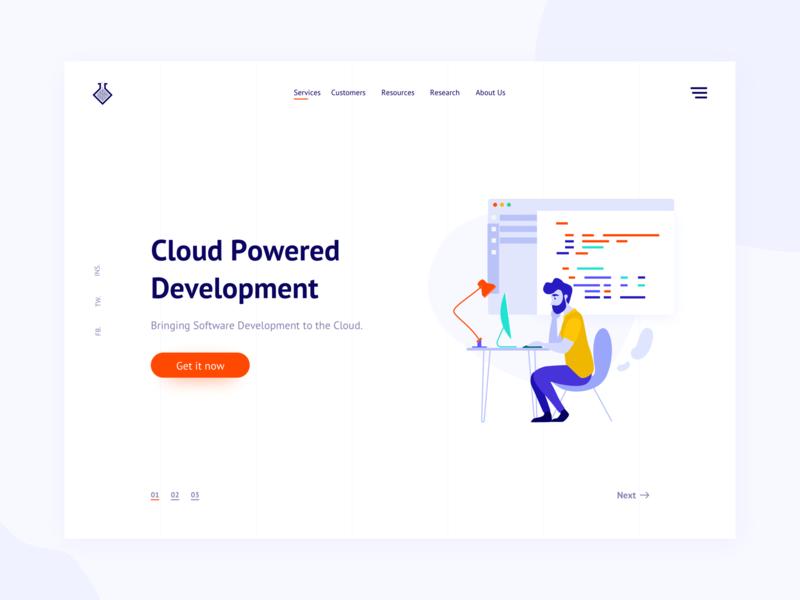 Cloud development landing page freebie icon mockup card typography website business page coding code developement dashboard landing page flat web vector app illustration design ui