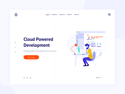 Cloud development landing page freebie icon mockup card typography website business page coding code developement dashboard landing page flat web vector app illustration design ui