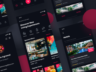 Discover Living Experiences website color ux flat animation web app typogaphy branding vector logo design illustration theme dark app trending freebie discover ui