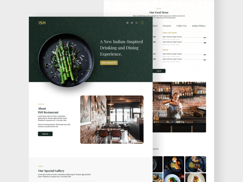 Restaurant Landing Page ux typography landing page design website design food restaurant branding website landing page web design ui