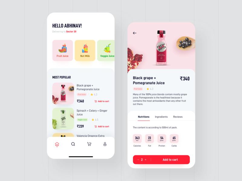Juice App Design health order fruit ui food app food restaurant mobileapp appdesign color design drink juice app