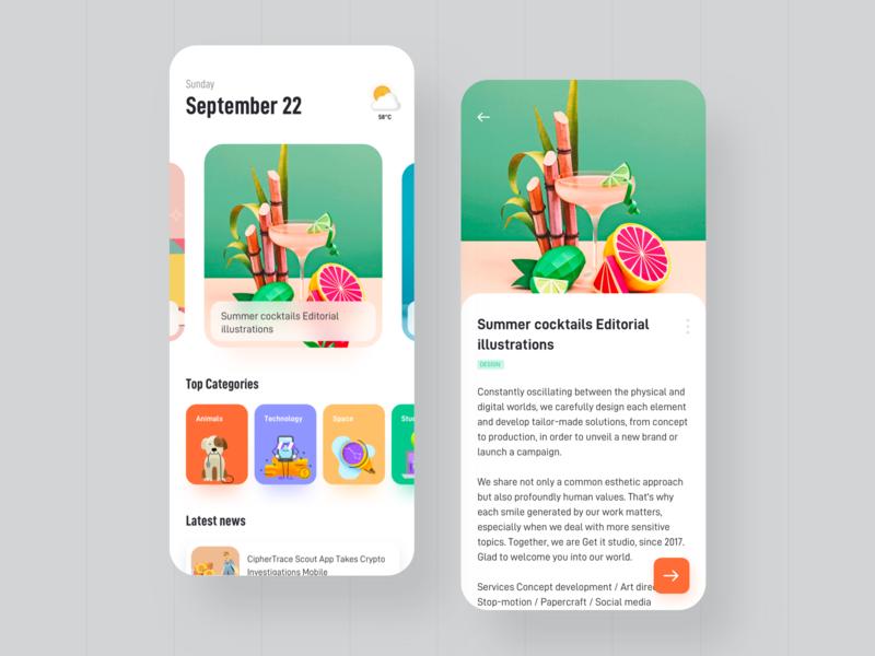 News app concept design ux ui app vector landing page mobile news google app design illustraion newsfeed interaction interface newsapp feeds category food fruit