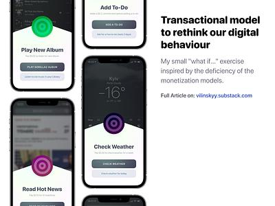Transactional model to rethink our digital behaviour monetization concept ios