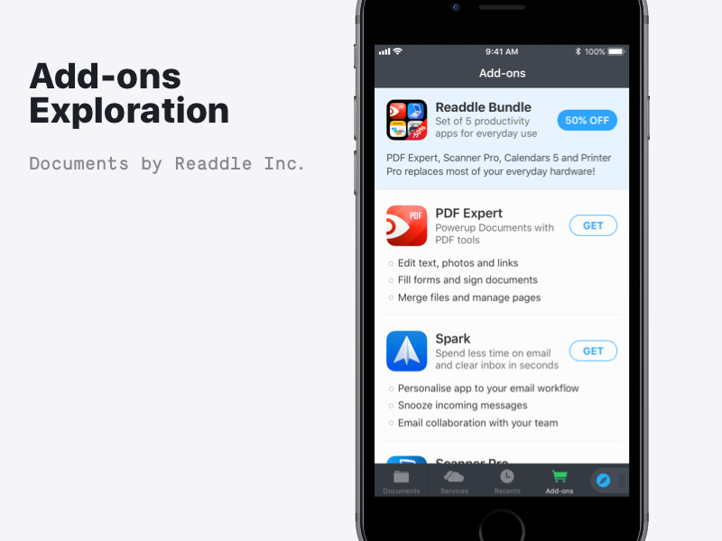 Add-ons in Documents apps bundle ios ads readdle documents