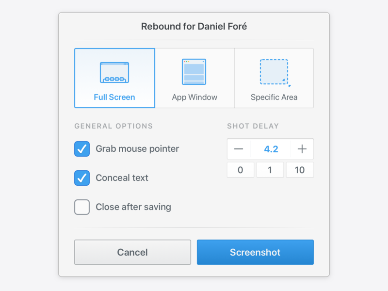 ⏱ Daniel Screenshot Tool cancel button checkbox uppercase options macos screenshot timer