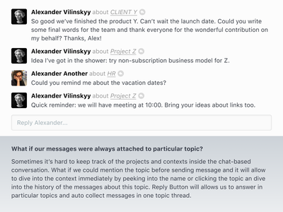 📚 Topic Links messages ui chat