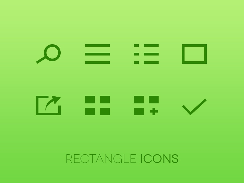 Rectangle Icons icon icons app ui vector ios ipad green rectangle freebie square free search list menu share check pixel perfect vectors psd