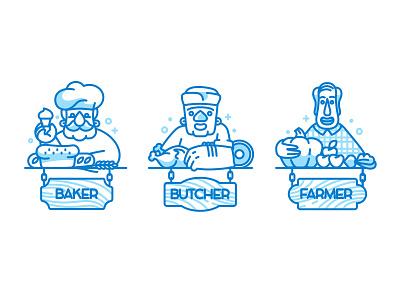 Baker, Butcher and Farmer vegetables meat bread icon farmer butcher baker