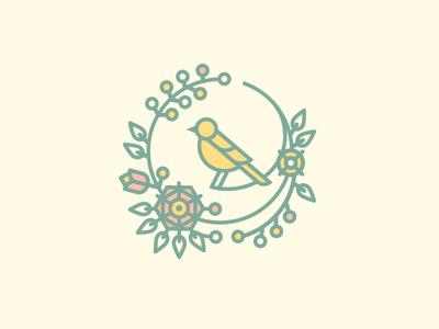 Bird Logo plant flower bird logo
