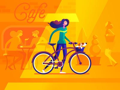 July cafe dog summer street bike girl illustration flat